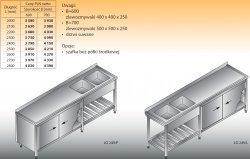 Stół zlewozmywakowy 2-zbiornikowy lo 249 - 2400x700