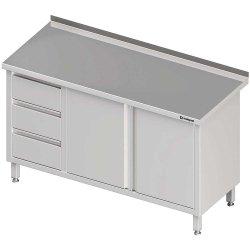 Stół przyścienny z blokiem trzech szuflad (L),drzwi skrzydłowe 1500x700x850 mm