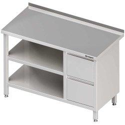 Stół przyścienny z blokiem dwóch szuflad (P),i 2-ma półkami 1900x700x850 mm