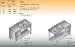 Stół zlewozmywakowy 2-zbiornikowy lo 239/s2 - 1900x700