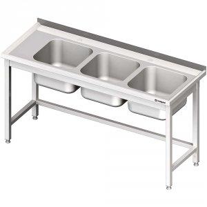 Stół ze zlewem 3-kom.(P),bez półki 1600x600x850 mm