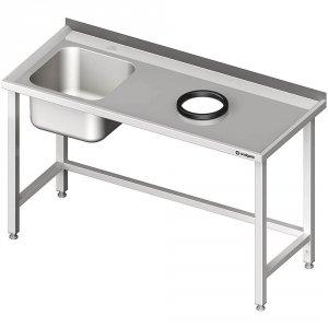 Stół przyścienny ze zlewem, bez półki z otworem 1900x700x850 mm, 1 komora po lewej spawany