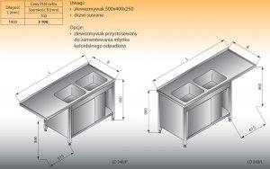 Stół zlewozmywakowy 2-zbiornikowy z szafką lo 348 prawy Lozamet