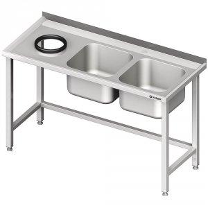 Stół przyścienny ze zlewem bez półki z otworem 1600x600x850 mm, 2-komory po prawej spawany