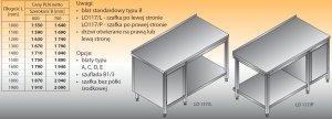 Stół roboczy z szafką i półką lo 117/l; lo 117/p 1100/700