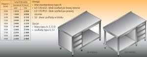 Stół roboczy z blokiem szuflad i półką lo 135/s3 - 1100x600