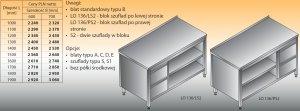 Stół roboczy z blokiem szuflad i szafką otwartą lo 136/s2 - 1700x700