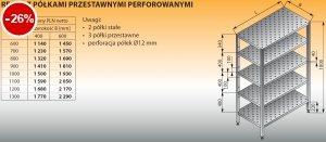 Regał z półkami przestawnymi perforowanymi lo 607 - 1200x400