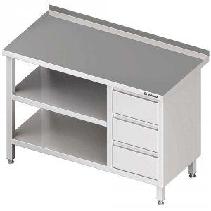 Stół przyścienny z blokiem trzech szuflad (P),i 2-ma półkami 1400x700x850 mm
