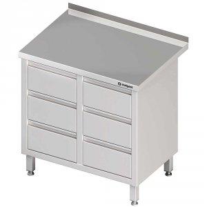 Stół przyścienny z blokiem sześciu szuflad 840x600x850 mm