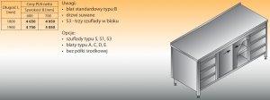 Stół roboczy z dwoma blokami szuflad i szafką lo 146/s3 - 1800x700