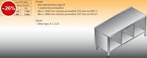 Stół z prowadnicami na pojemniki gn lo 113 1200/600