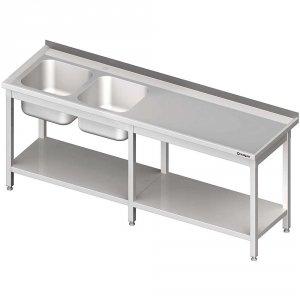 Stół ze zlewem 2-kom.(L),z półką 2400x700x850 mm
