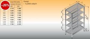 Regał z półkami stałymi ociekowymi lo 603 - 1100x600