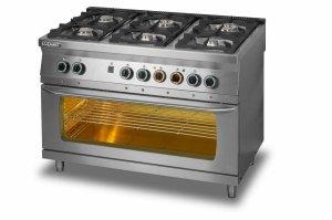Kuchnia gazowa 6-palnikowa z piekarnikiem elektrycznym 3xGN 1/1 L700.KG6 PE max Lozamet