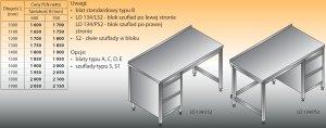 Stół roboczy z blokiem szuflad lo 134/s2 - 1300x600