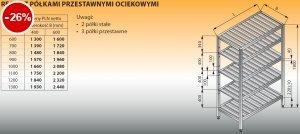 Regał z półkami przestawnymi ociekowymi lo 606 - 1300x600