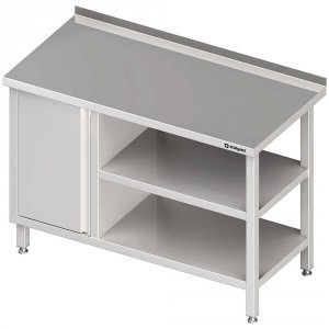 Stół przyścienny z szafką (L),i 2-ma półkami 1400x700x850 mm
