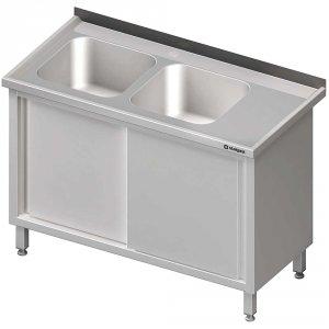 Stół ze zlewem 2-kom.(L),drzwi suwane 1700x600x850 mm