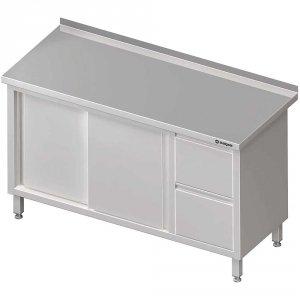Stół przyścienny z blokiem dwóch szuflad (P),drzwi suwane 1700x700x850 mm