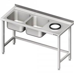 Stół przyścienny ze zlewem bez półki z otworem 1900x600x850 mm, 2-komory po lewej spawany