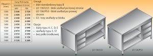 Stół roboczy z blokiem szuflad i szafką otwartą lo 136/s3 - 1600x700
