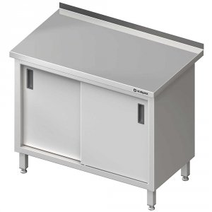 Stół stalowy z drzwiami suwanymi, przyścienny, spawany, 1000x600x850 mm