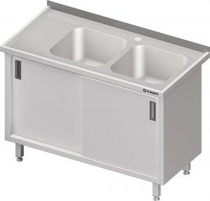 Stół ze zlewem 2-kom.(P),drzwi suwane 1300x700x850 mm