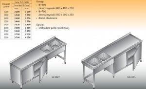 Stół zlewozmywakowy 2-zbiornikowy lo 242 - 2700x700