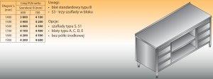 Stół roboczy z dwoma blokami szuflad i szafką otwartą lo 144/s3 - 1600x600