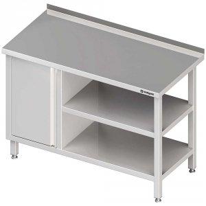 Stół przyścienny z szafką (L),i 2-ma półkami 1900x600x850 mm