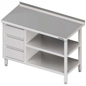 Stół przyścienny z blokiem trzech szuflad (L),i 2-ma półkami 1900x600x850 mm