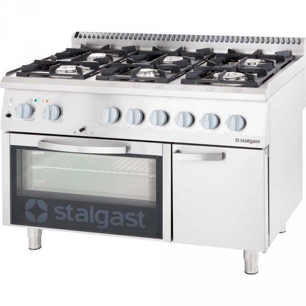 kuchnia gazowa 6 palnikowa wym. 1200x700x850 z piekarnikiem gazowym (800) 36,5+5 kW - G30/31 (propan-butan)