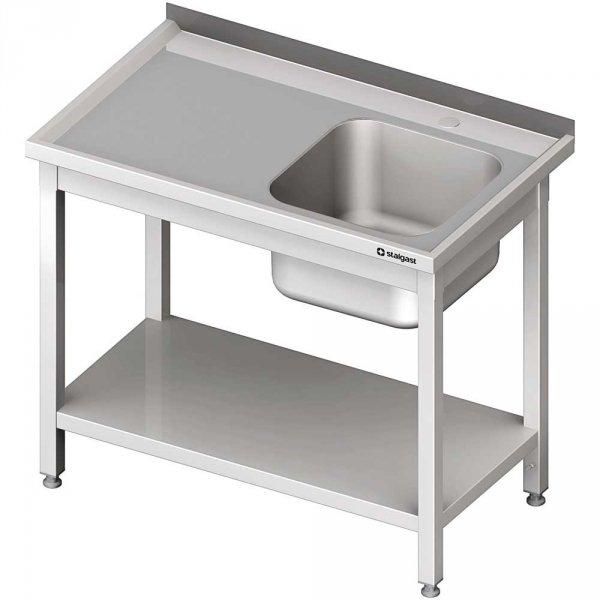 stół stalowy z półką ze zlewem 1-komorowym prawym, spawany, blat tłoczony, 1000x600x850 mm