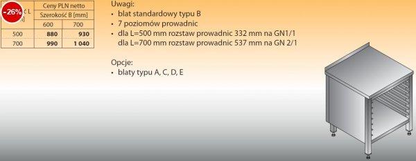 Stół z prowadnicami na pojemniki gn lo 111 500/600