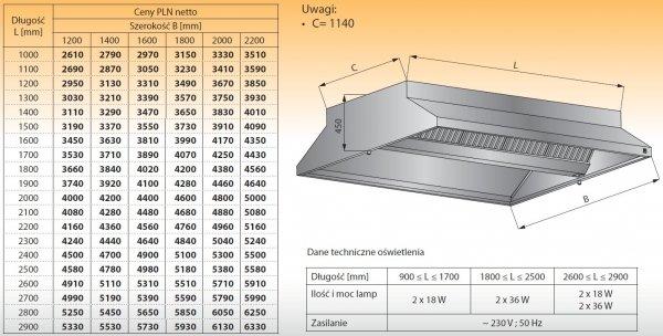 Okap centralny z oświetleniem lo 911 - 2500x1200