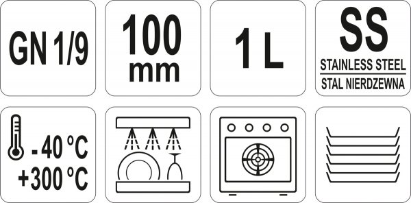 POJEMNIK GASTRONOMICZNY GN 1/9 100 Yato
