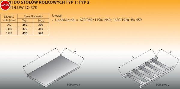Półki do stołów rolkowych typ 1/1440 Lozamet