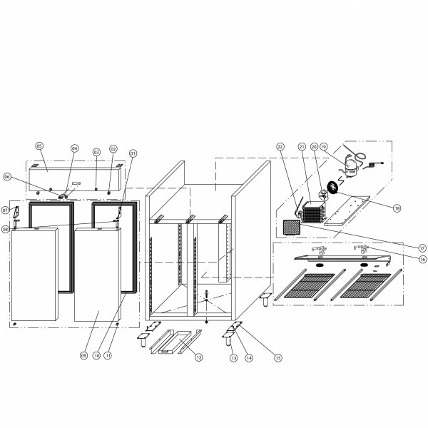 szafa chłodnicza 2 drzwiowa lakierowana, GN 2/1, V 1173 l