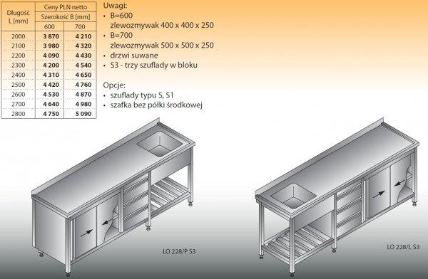 Stół zlewozmywakowy 1-zbiornikowy lo 228/s3 - 2500x600