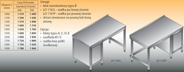 Stół roboczy z szafką lo 116/l; lo 116/p 1600/700