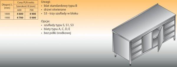 Stół roboczy z dwoma blokami szuflad i szafką lo 145/s3 - 1800x700
