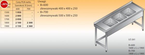 Stół zlewozmywakowy 3-zbiornikowy lo 261 - 1500x600