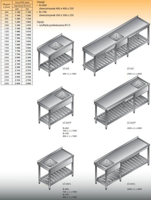 Stół zlewozmywakowy 1-zbiornikowy lo 203 - 2000x600