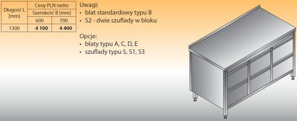 Stół roboczy z trzema blokami szuflad lo 133/s2 1300/600