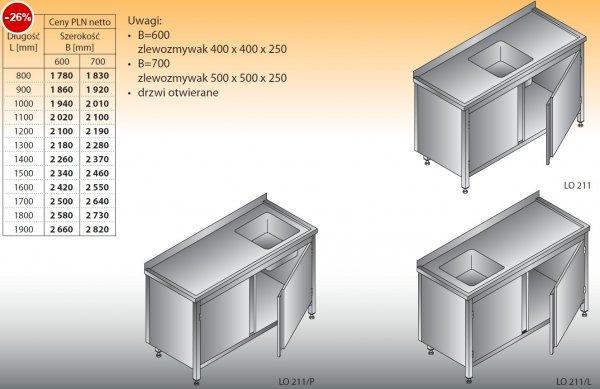 Stół zlewozmywakowy 1-zbiornikowy lo 211 - 800x600
