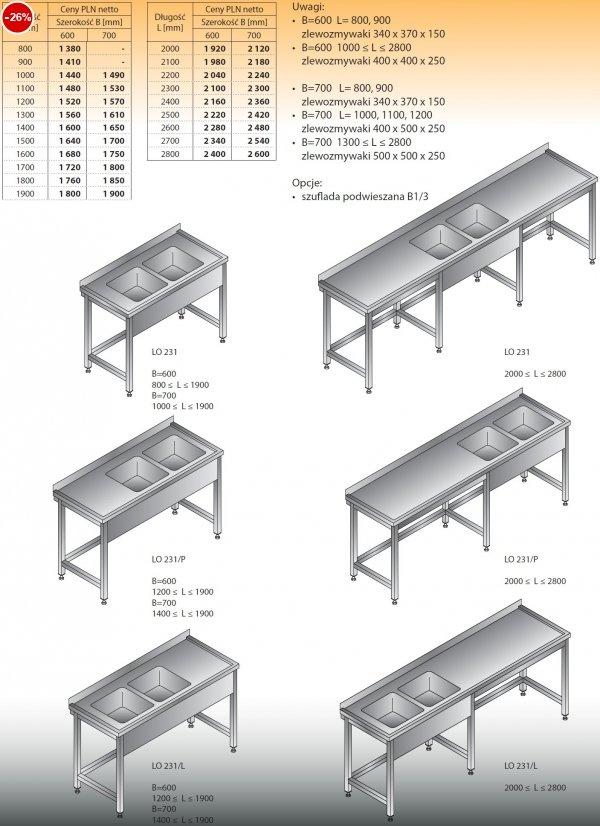 Stół zlewozmywakowy 2-zbiornikowy lo 231 - 800x600