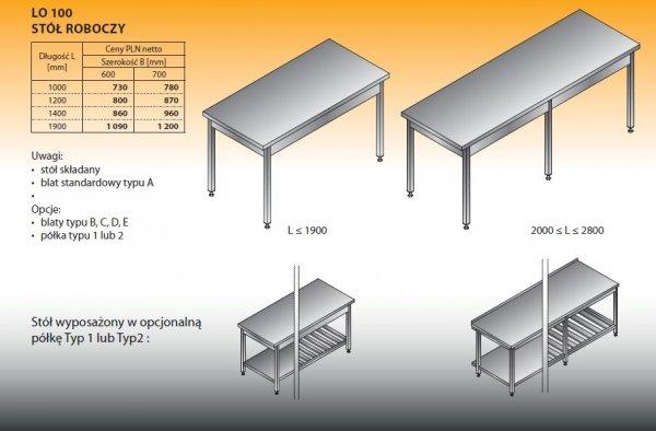 Stół roboczy lo 100 1900/600