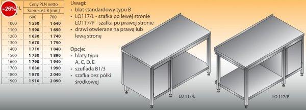 Stół roboczy z szafką i półką lo 117/l; lo 117/p 1000/600