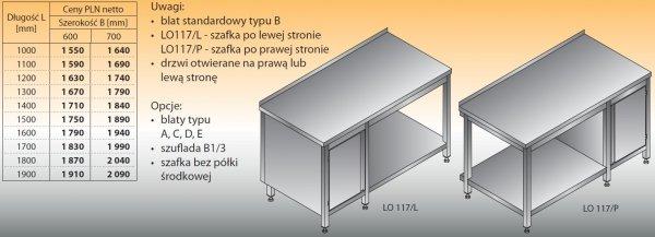 Stół roboczy z szafką i półką lo 117/l; lo 117/p 1000/700